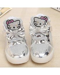 URB-N-ANGELS Silver Embellished Kids Sneakers-babycouture.in