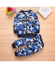 URB N ANGEL Electric Blue Camouflage Kid's Winter Clothing Set-babycouture.in