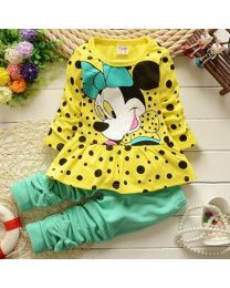 URB N ANGEL Girl's Minnie Yellow Winter Tunic Set- Babycouture.in
