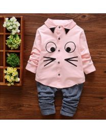 URB N ANGEL Pink Cartoon Face Kid's Winter Clothing Set-babycouture.in