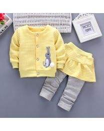 URB N ANGEL Yellow Skater Skirt Girl's Winter Clothing Set- Babycouture.in
