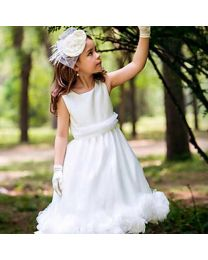 White Mushy Bloom Kids Dress-babycouture.in
