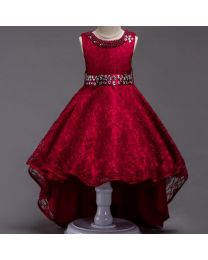 Wine Lace Pearls Neck High Low Party Dress-babycouture.in