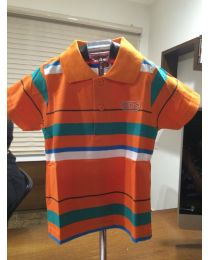 Orange & Green Striped Collar T-shirt -babycouture.in