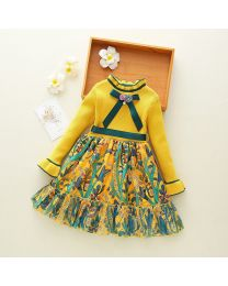 Yellow Printed Kids Sweater Dress-babycouture.in