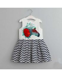 Zebra Flower Striped Summer Kids Dress-babycouture.in